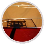 Basketball Shadows Round Beach Towel by Karol Livote