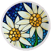 Bathing Beauties - Daisy Art By Sharon Cummings Round Beach Towel by Sharon Cummings