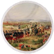 Battle Of Fontenoy, 11 May 1745 The French And Allies Confronting Each Other Round Beach Towel by Felix Philippoteaux