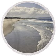 Beach At Santa Monica Round Beach Towel by Kim Hojnacki