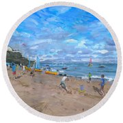 Beach Cricket Round Beach Towel by Andrew Macara