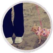 Beach Walk Round Beach Towel by Laurie Search