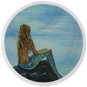 Beautiful Magic Mermaid Round Beach Towel by Leslie Allen