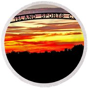 Beautiful Sunset And Emmett Sport Comples Round Beach Towel by Robert Bales
