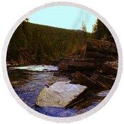 Beautiful Yak River Montana Round Beach Towel by Jeff Swan