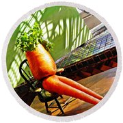 Beer Belly Carrot On A Hot Day Round Beach Towel by Sarah Loft