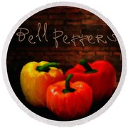 Bell Peppers II Round Beach Towel by Lourry Legarde