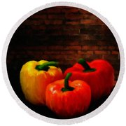Bell Peppers Round Beach Towel by Lourry Legarde