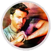 Ben Affleck Round Beach Towel by Marvin Blaine