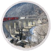 Round Beach Towel featuring the photograph Bernina Express In Winter by Travel Pics