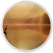 Beside Still Waters Round Beach Towel by Rob Blair