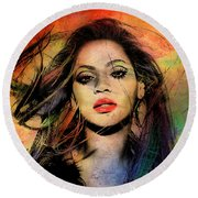 Beyonce Round Beach Towel by Mark Ashkenazi