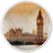 Big Ben At Dusk Round Beach Towel by Pixel Chimp