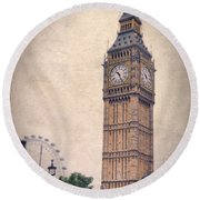 Big Ben In London Round Beach Towel by Jill Battaglia