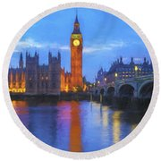 Big Ben Round Beach Towel by Veikko Suikkanen
