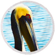 Big Bill - Pelican Art By Sharon Cummings Round Beach Towel by Sharon Cummings