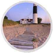 Big Sable Point Lighthouse Round Beach Towel by Adam Romanowicz