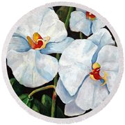 Big White Orchids - Floral Art By Betty Cummings Round Beach Towel by Sharon Cummings
