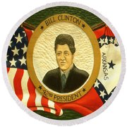 Bill Clinton 42nd American President Round Beach Towel by Art America Online Gallery