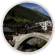Round Beach Towel featuring the photograph Binn by Travel Pics
