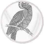 Bird Hornbill Round Beach Towel by Neeti Goswami