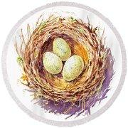 Bird Nest A Happy Trio Round Beach Towel by Irina Sztukowski