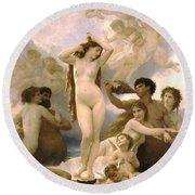 Birth Of Venus Round Beach Towel by William Bouguereau
