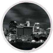Black And White Nashville Round Beach Towel by Frozen in Time Fine Art Photography