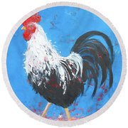 Black And White Rooster On Blue  Round Beach Towel by Jan Matson