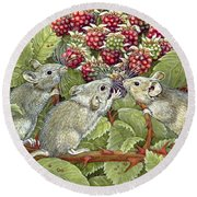 Blackberrying Round Beach Towel by Ditz