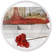 Blood Swept Lands And Seas Of Red Round Beach Towel by Amanda Elwell