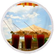 Bloody Mary Trio Round Beach Towel by Beth Ferris Sale