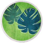 Blue And Green Palm Leaves Round Beach Towel by Linda Woods