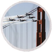 Blue Angels And The Bridge Round Beach Towel by Bill Gallagher