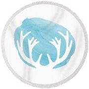 Blue Antlers Round Beach Towel by Marion De Lauzun