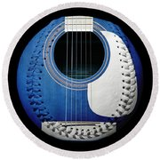 Blue Guitar Baseball White Laces Square Round Beach Towel by Andee Design