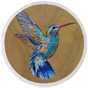 Turquoise Hummingbird Round Beach Towel by Michael Creese