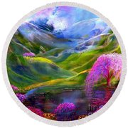 Blue Mountain Pool Round Beach Towel by Jane Small