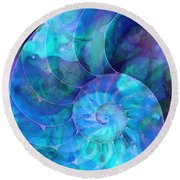 Blue Nautilus Shell By Sharon Cummings Round Beach Towel by Sharon Cummings