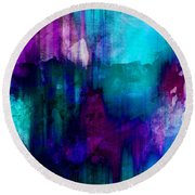Blue Rain  Abstract Art   Round Beach Towel by Ann Powell