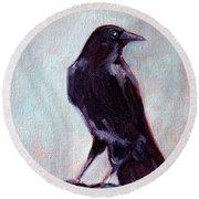 Blue Raven Round Beach Towel by Nancy Merkle