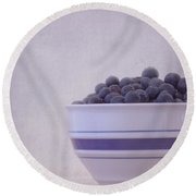 Blueberry Splash Round Beach Towel by Kim Hojnacki