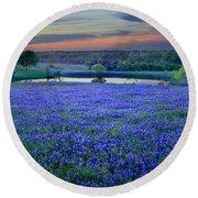 Bluebonnet Lake Vista Texas Sunset - Wildflowers Landscape Flowers Pond Round Beach Towel by Jon Holiday