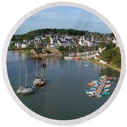 Boats In The Sea, Le Bono, Gulf Of Round Beach Towel by Panoramic Images