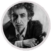 Bob Dylan Round Beach Towel by Andre Koekemoer
