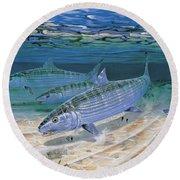 Bonefish Flats In002 Round Beach Towel by Carey Chen