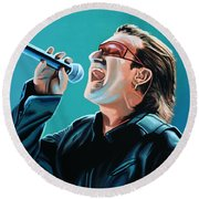 Bono Of U2 Painting Round Beach Towel by Paul Meijering