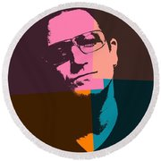 Bono Pop Art Round Beach Towel by Dan Sproul