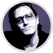 Bono Portrait Round Beach Towel by Dan Sproul