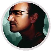 Bono U2 Artwork 1 Round Beach Towel by Sheraz A